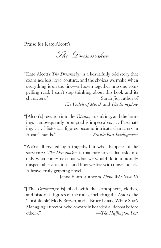 Kate Alcott - The Dressmaker - Trade Paperback