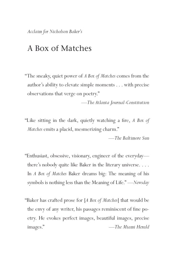 Nicholson Baker - A Box of Matches - Trade Paperback