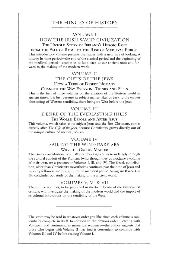 Thomas cahill how the irish saved civilization trade paperback page 1 of 23 sciox Choice Image