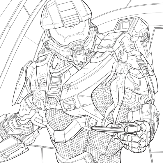 Free Printable Halo Coloring Pages For Kids | 560x560